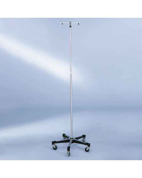 Blickman Stainless Steel IV Stand with 5-Leg & Automatic Thumb Control