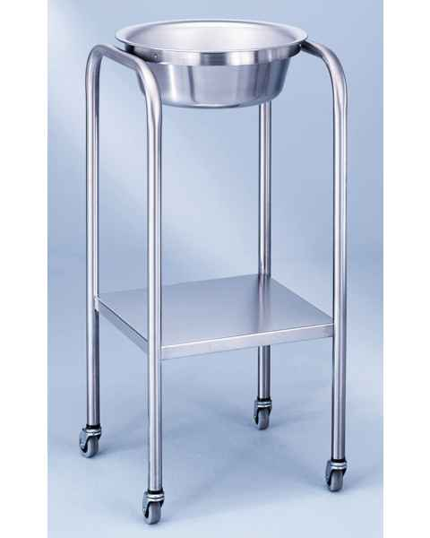 Stainless Steel Solution Stand - Single Basin with Shelf