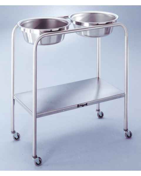 Stainless Steel Solution Stand - Double Basin with H-Brace