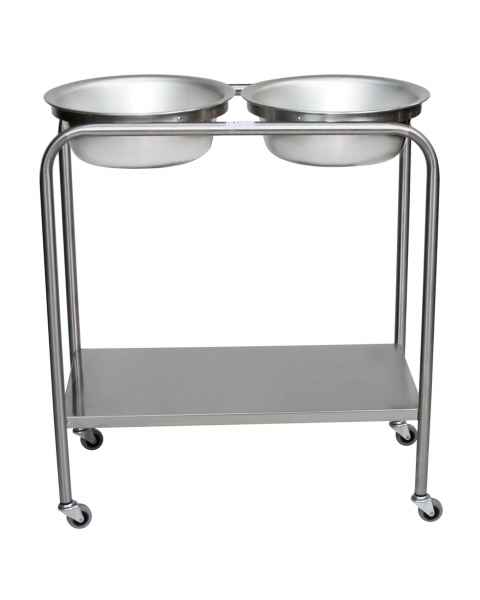 Stainless Steel Solution Stand - Double Basin with Shelf