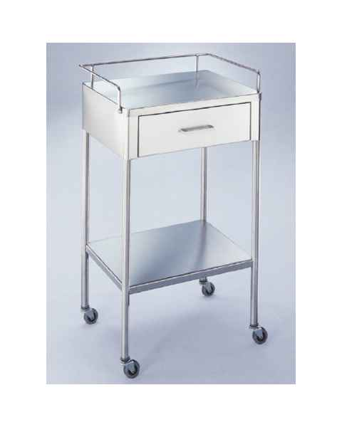 Blickman SS Anesthesia Utility Table with Guard Rail and One Drawer