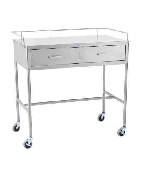 Blickman SS Utility Table with H-Brace, Guard Rail and Two Side by Side Drawers