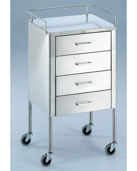 Blickman SS Anesthesia Utility Table with Guard Rail and Four Drawers