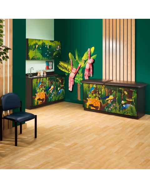 Clinton Model 7932-X Complete Rainforest Follies Pediatric Treatment Table with Adjustable Backrest & Cabinets