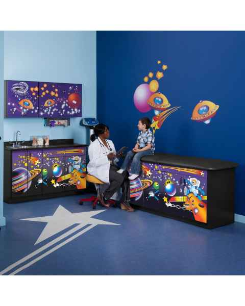 Clinton Model 7935-X Complete Space Place Pediatric Treatment with Adjustable Backrest Table & Cabinets