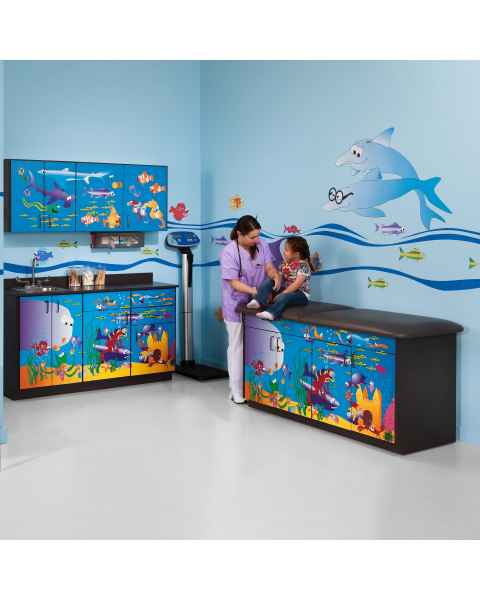 Clinton Model 7936-X Complete Ocean Commotion Pediatric Treatment Table with Adjustable Backrest & Cabinets
