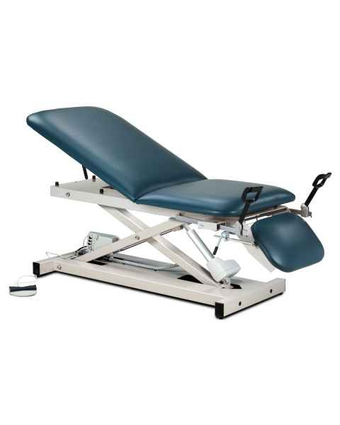 Clinton Model 80360 Open Base Power Table with Stirrups, Adjustable Backrest & Drop Section