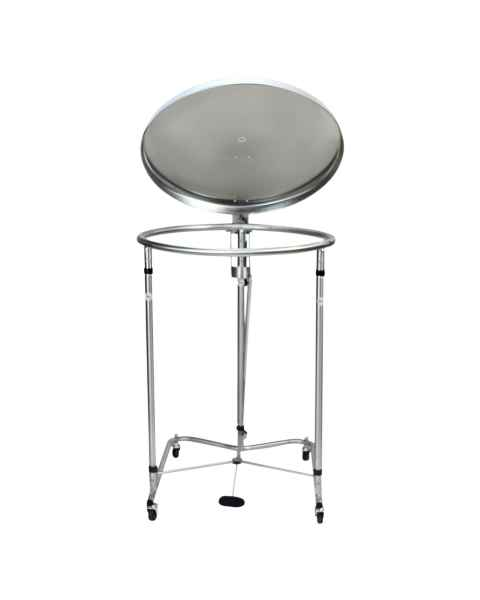 Stainless Steel Foot-Operated Round Hamper with Lid