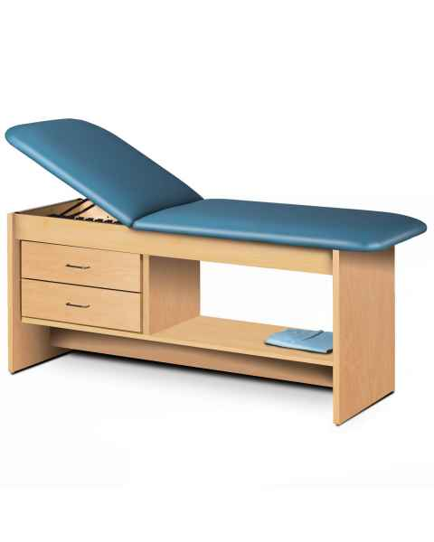 Clinton Model 9013 Treatment Table with Adjustable Backrest, Shelf & 2 Drawers