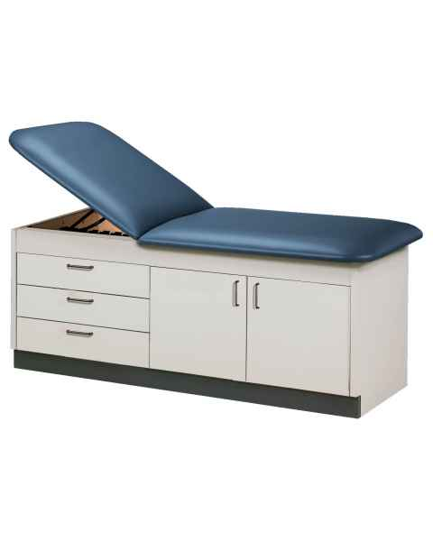 Clinton Model 9105 Cabinet Style Treatment Table with Adjustable Backrest, 3 Drawers & 2 Doors