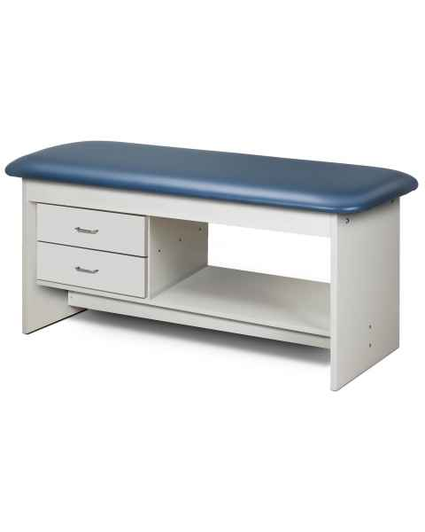 Clinton Model 9313 Flat Top Style Line Straight Line Treatment Table with Shelf & 2 Drawers