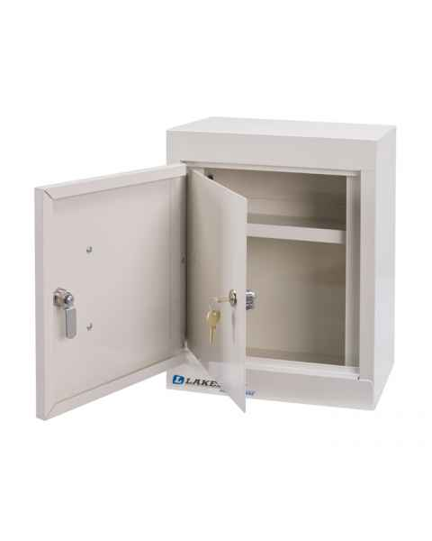 "Lakeside Narcotic Cabinet -w/ Handle, One Shelf, Double Door, Double Lock - 15"" H x 12"" L x 8"" W"