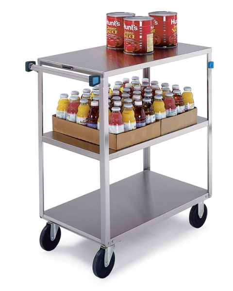 Lakeside SS Medium Duty Multi-Shelf Cart - All Edges Down - Front Leg Bumper - 3 Shelves