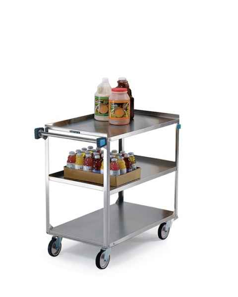 Lakeside SS Medium Duty Multi-Shelf Cart - 3 Edges Up 1 Down - Front Leg Bumper - 3 Shelves