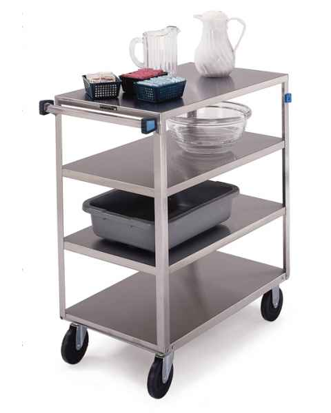 Lakeside 354 SS Medium Duty 4-Shelf Cart 3 Edges Up Front Leg Bumper