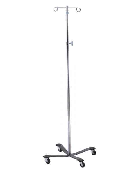 Lakeside 4850 4-Leg Epoxy-Coated Base 2-Hook Heavy Duty I.V. Stand
