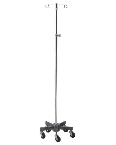 Lakeside Chrome Infusion Pump Stand: 5 Leg Space Saver Base - 4 Ram