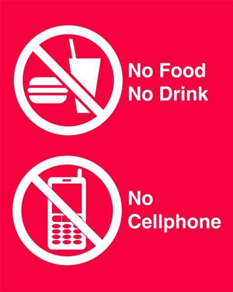 Techno Aide NFD-22 Silk Screened Sign No Food No Drink No Cellphone