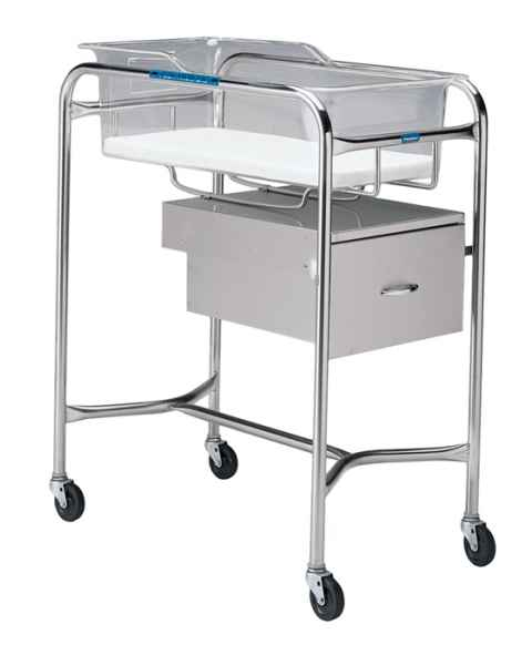 Pedigo Stainless Steel Bassinet Stand With End-Mounted Drawer