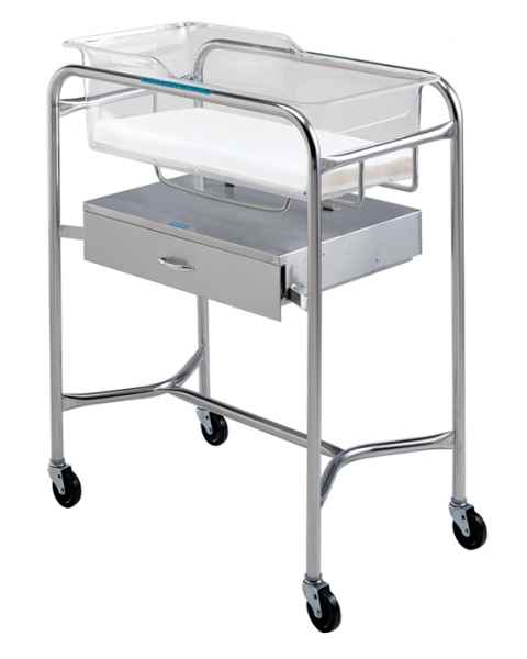 Pedigo Stainless Steel Bassinet Stand With Side-Mounted Drawer