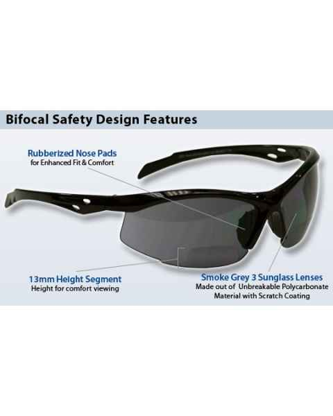 Bifocal Safety Glasses SB-9000 with Smoke Grey Lens