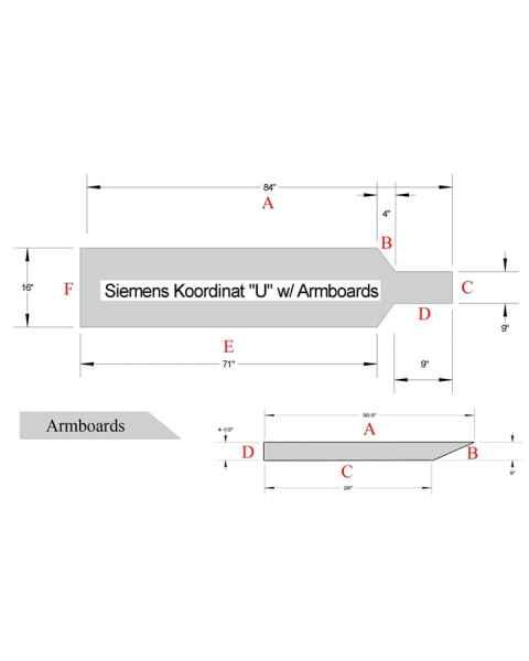 """Siemens Koordinat """"U"""" Set Table Pad with Armboard Pad Set"""