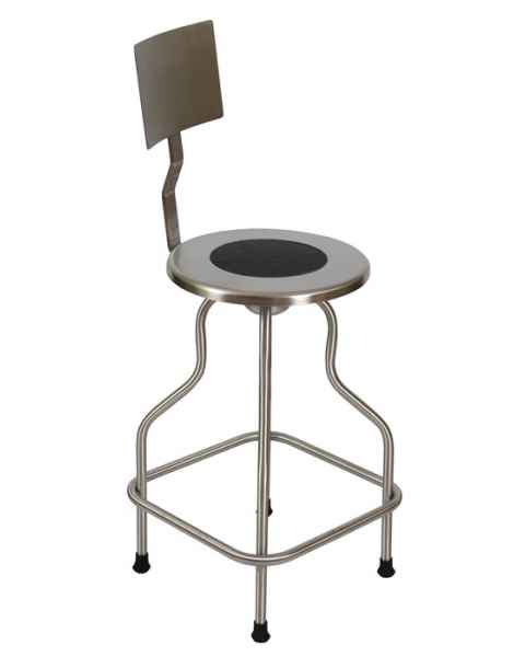 Stainless Steel Revolving Stool with Backrest