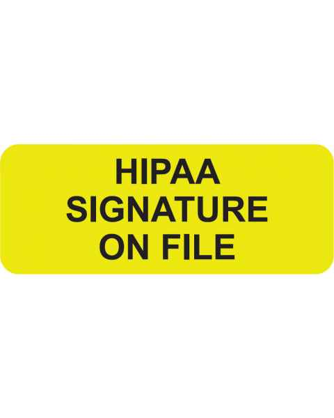 "HIPAA SIGNATURE ON FILE Label - Size 2 1/4""W x 7/8""H"