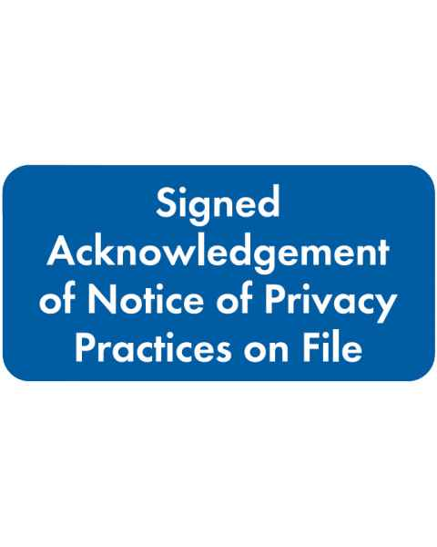 "SIGNED ACKNOWLEDGEMENT Label - Size 2""W x 1""H"