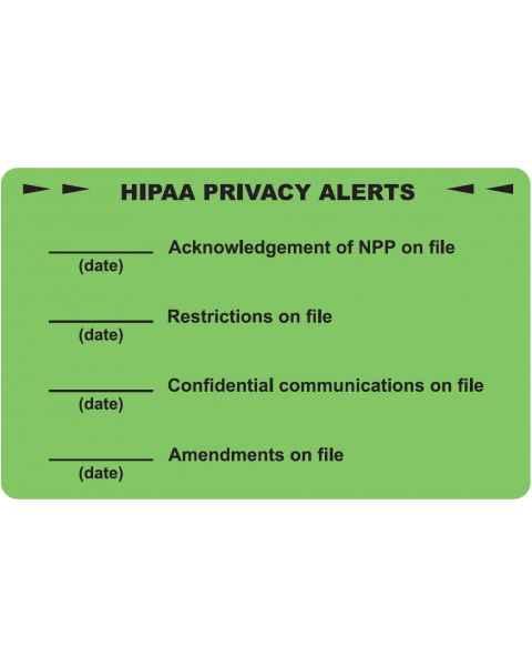 "HIPAA PRIVACY ALERTS Label - Size 4""W x 2 1/2""H"