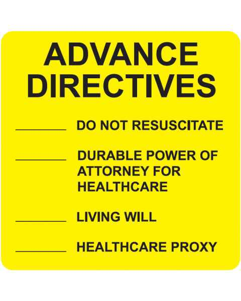 "ADVANCE DIRECTIVES Label - Size 2 1/2""W x 2 1/2""H - Fluorescent Yellow"