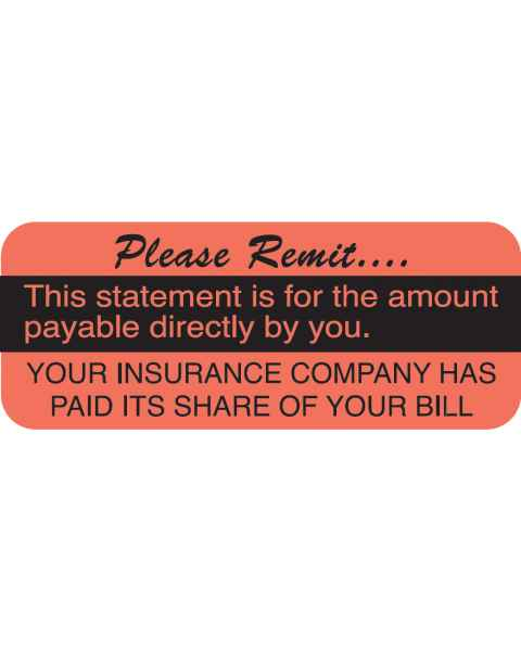 "PLEASE REMIT Label - Size 1 7/8""W x 3/4""H"