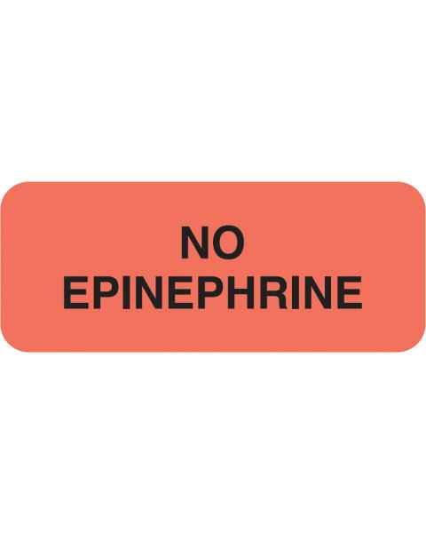 """NO EPINEPHRINE Label - Size 1 7/8""""W x 3/4""""H"""