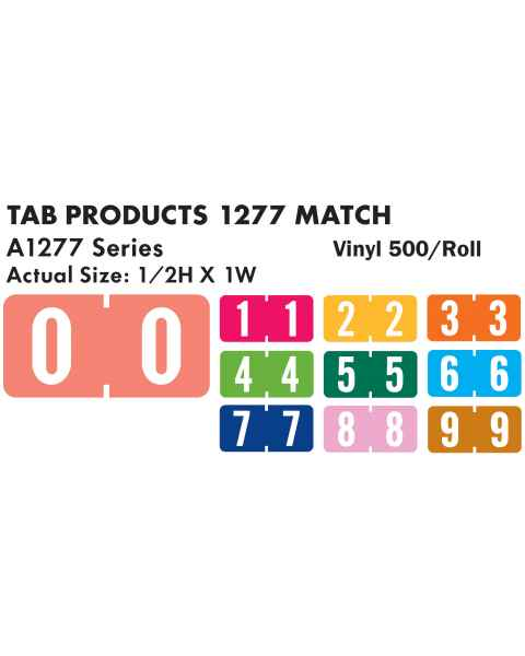 "Tab Products 1277 Match A1277 Series Numeric Color Code Roll Labels - 1/2""H x 1""W"