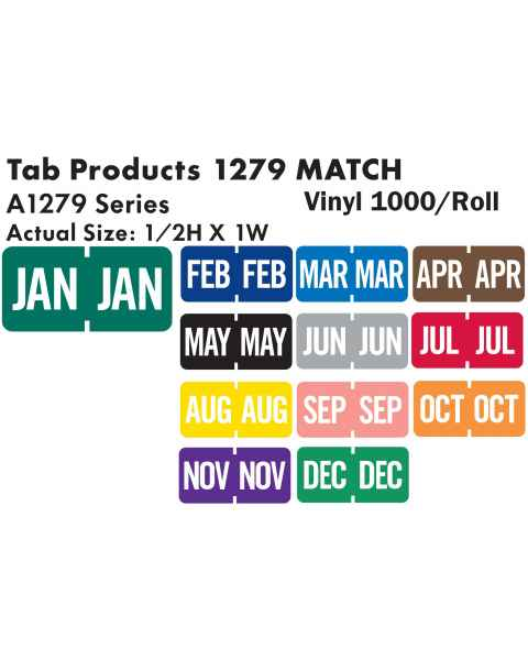 """Tab Products 1279 Match A1279 Series Month Code Roll Labels - 1/2""""H x 1""""W"""