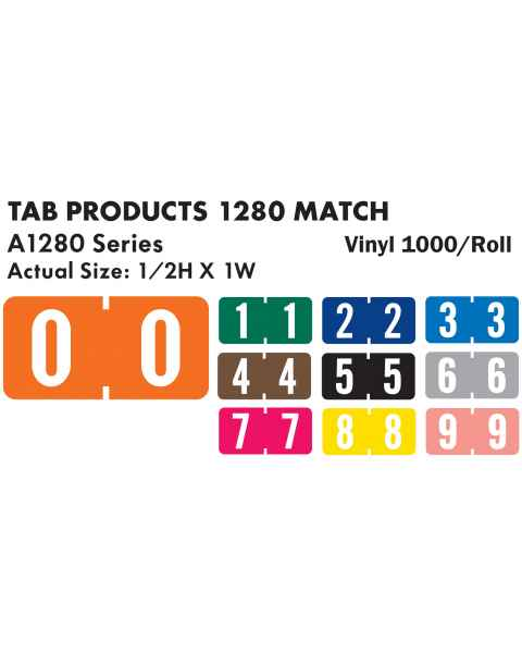 "Tab Products 1280 Match A1280 Series Numeric Color Code Roll Labels - 1/2""H x 1""W"
