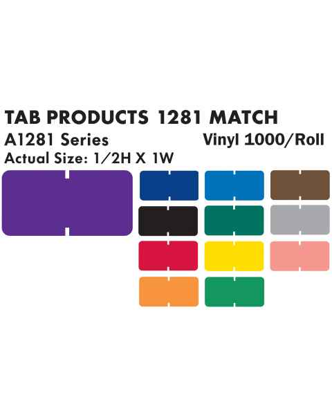 "Tab Products 1281 Match Solid Color Roll Labels - 1/2""H x 1""W"