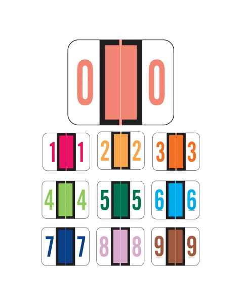 """Tab Products 1282 Match A1282 Series Numeric Color Code Roll Labels - 1""""H x 1 1/4""""W"""
