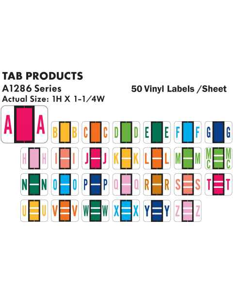 "Tab Products 1286 Match Alpha Sheet Labels - 1""H x 1 1/4""W"