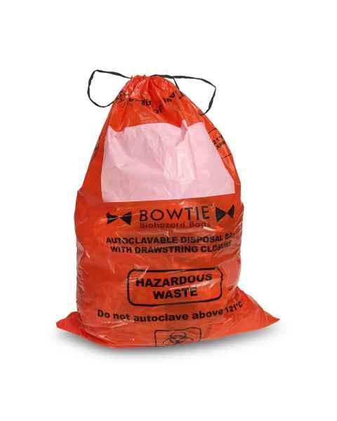 "BowTie Biohazard Bags with Drawstring 25"" x 35"""