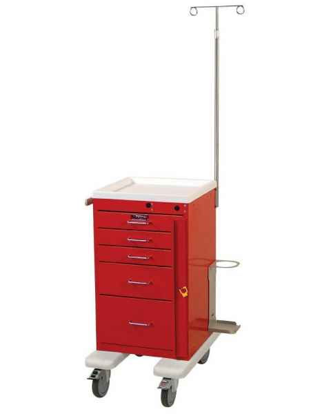 Harloff AL3245B-EMG Aluminum Mini Line Short Emergency Cart 5 Drawer Breakaway Lock & EMG Accessory Package