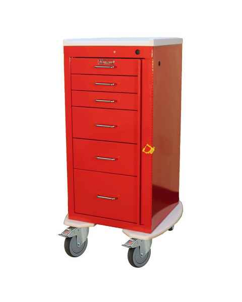 Harloff AL3256B Aluminum Mini Line Tall Emergency Cart 6 Drawer Breakaway Lock