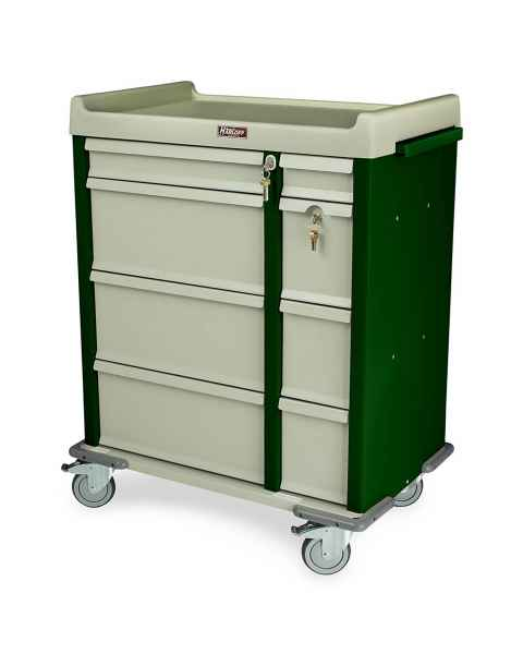 Harloff OptimAL Line Aluminum 460 Punch Card Medication Cart with Key Locks, Single Wide Narcotics Drawer, Specialty Package