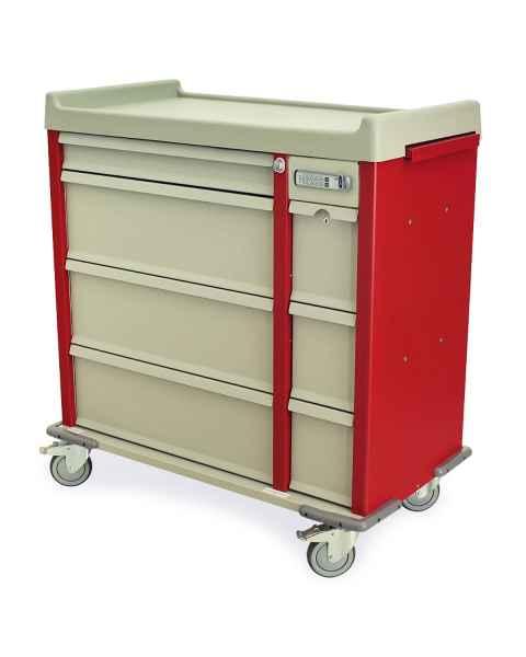 Harloff AL600PC OptimAL Line Aluminum 600 Punch Card Medication Cart with Key Locks, Single Wide Narcotics Drawer