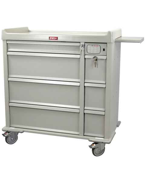 Harloff OptimAL Line Aluminum 600 Punch Card Medication Cart with CompX Electronic Lock, Single Wide Narcotics Drawer, Specialty Package