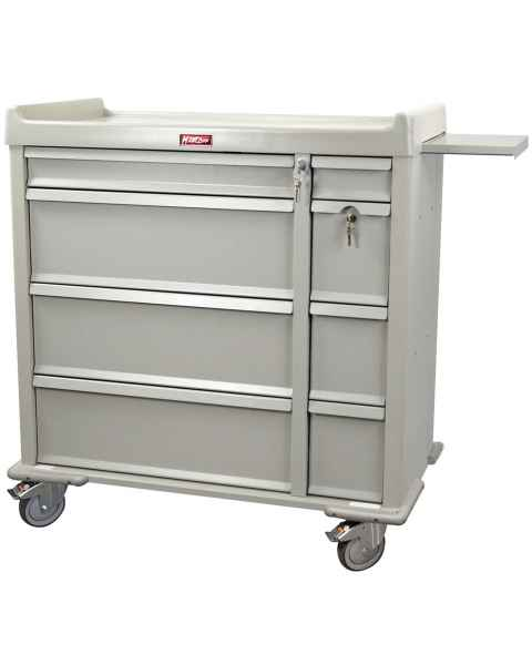 Harloff OptimAL Line Aluminum 600 Punch Card Medication Cart with Key Locks, Single Wide Narcotics Drawer, Specialty Package