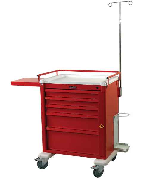 Harloff AL808B5-EMG Aluminum Universal Line Medium Emergency Cart 5 Drawer with Breakaway Lock & EMG Accessory Package