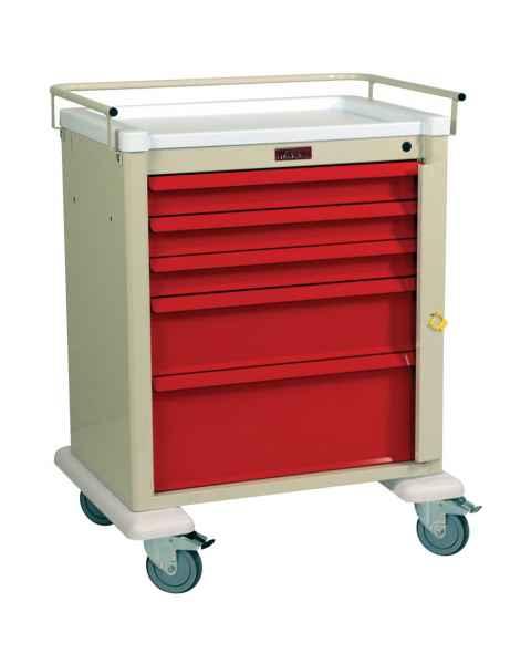 Harloff AL808B5 Aluminum Universal Line Medium Emergency Cart 5 Drawer with Breakaway Lock