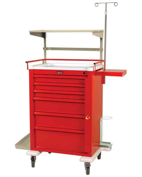 Harloff AL810B6-EMG2 Aluminum Universal Line Super Tall Emergency Cart 6 Drawer with Breakaway Lock & Deluxe EMG Accessory Package
