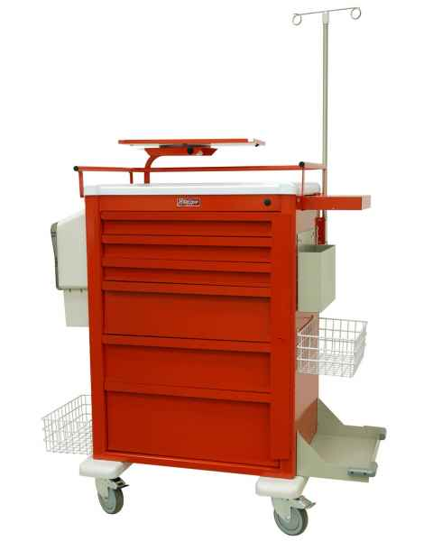 Harloff AL810B6-EMG3 Aluminum Universal Line Super Tall Emergency Cart 6 Drawer with Breakaway Lock & Super Stat EMG3 Accessory Package